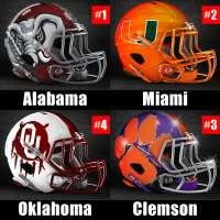 2017 College Football Playoff rankings for week 13: 1) Alabama, 2) Miami, 3) Clemson, 4) Oklahoma