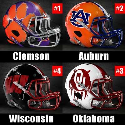 2017 College Football Playoff rankings for week 14: 1) Clemson, 2) Auburn, 3) Auburn, 4) Clemson
