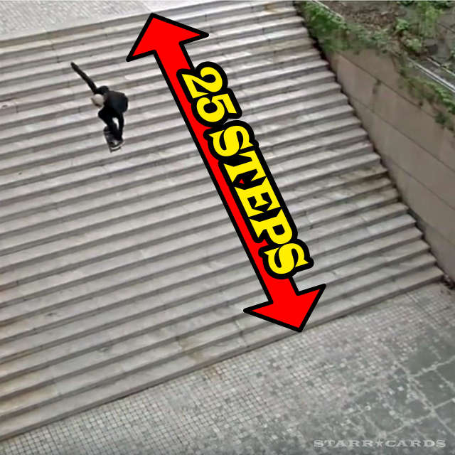 "Aaron ""Jaws"" Homoki skates over the Lyon 25 step stairs"