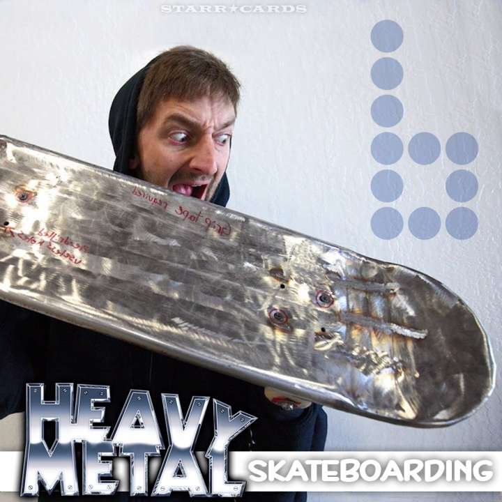 Aaron Kyro of Braille Skateboarding reacts to his metal skateboard