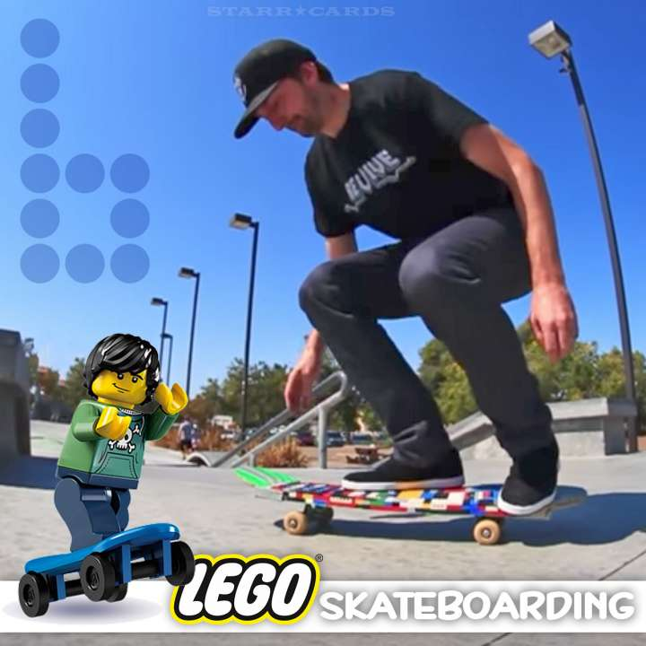 Aaron Kyro of Braille Skateboarding tries out a variety of LEGO skateboards