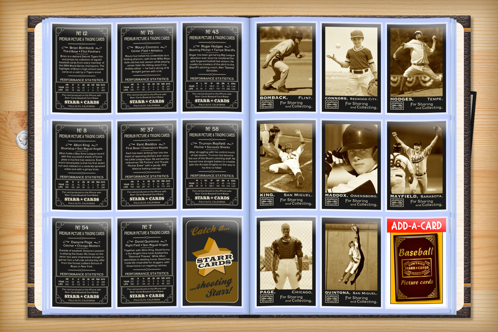 make your own custom baseball cards with starr cards