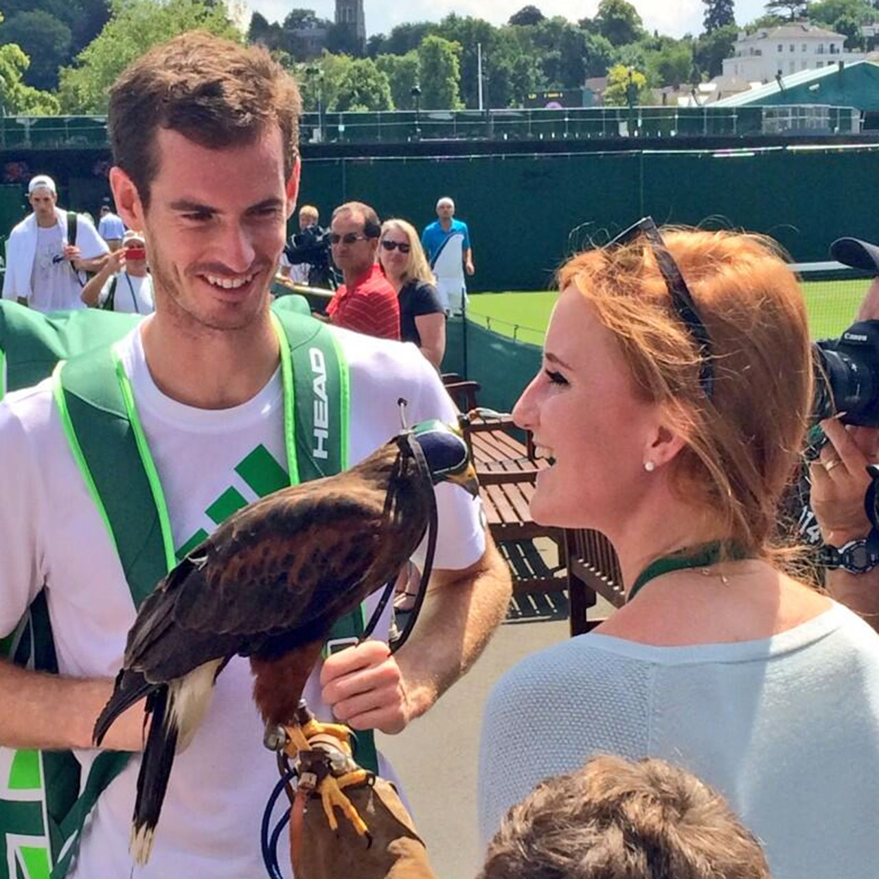 Andy Murray visits with Rufus the Hawk