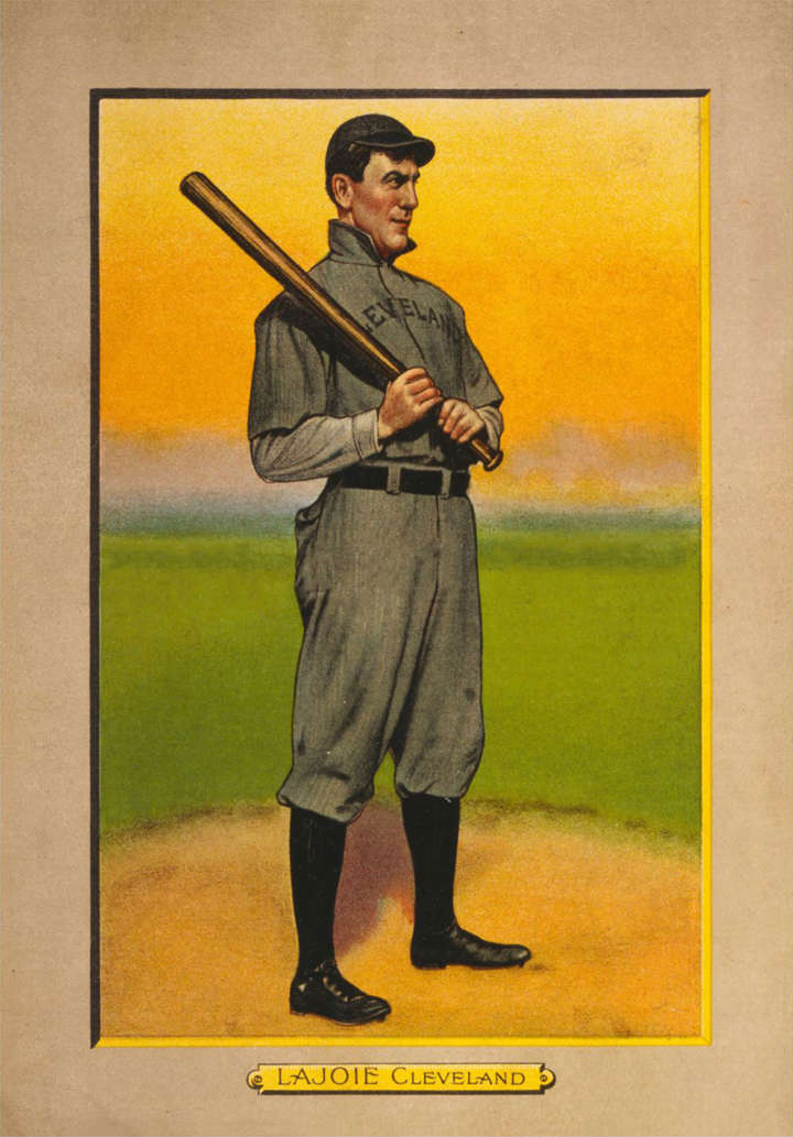 Baseball card of Cleveland Indians second baseman Nap Lajoie