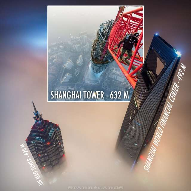 Climbing Shanghai Tower above Jin Mao Tower and Shanghai World Financial Center