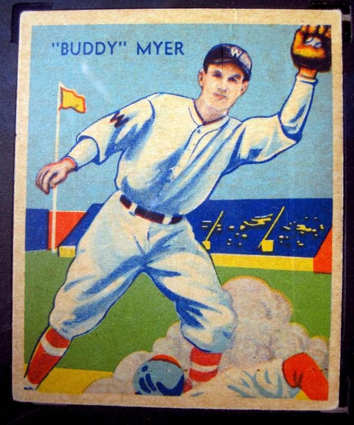Diamond Stars baseball card of Washington Senators player Buddy Myer