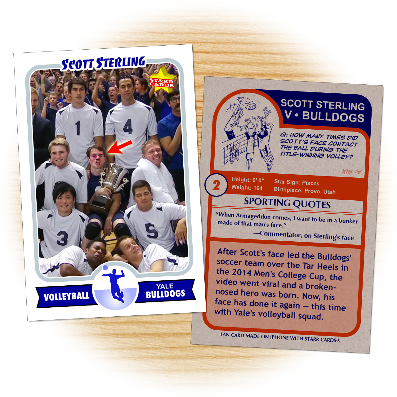 Fan card of Scott Sterling for Yale Bulldogs' volleyball team