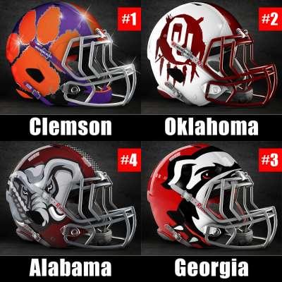 Final 2017 College Football Playoff rankings: 1) Clemson, 2) Oklahoma, 3) Georgia, 4) Alabama