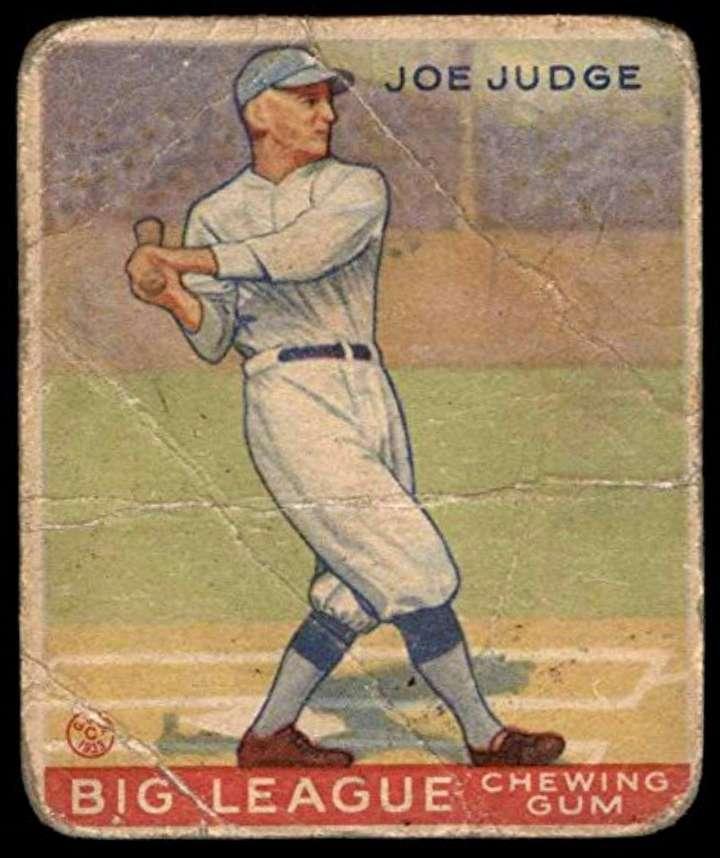 Goudey baseball card of Joe Judge