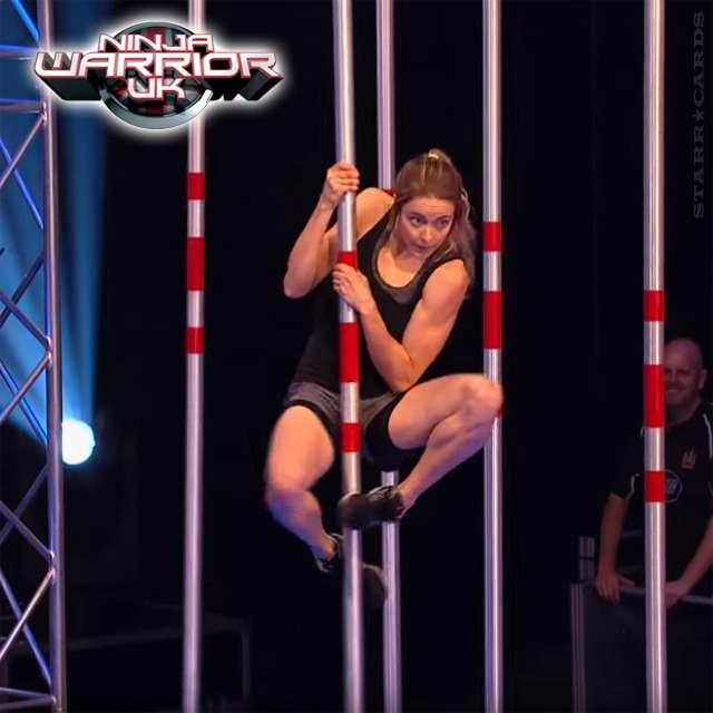 Katie McDonnell navigates the Pole Grasper obstacle on 'Ninja Warrior UK'