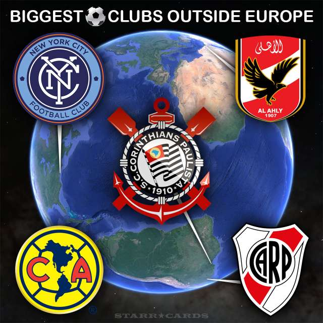 Largest football (soccer) clubs outside Europe including NYCFC, Club America, Corinthians, Al Ahly and River Plate