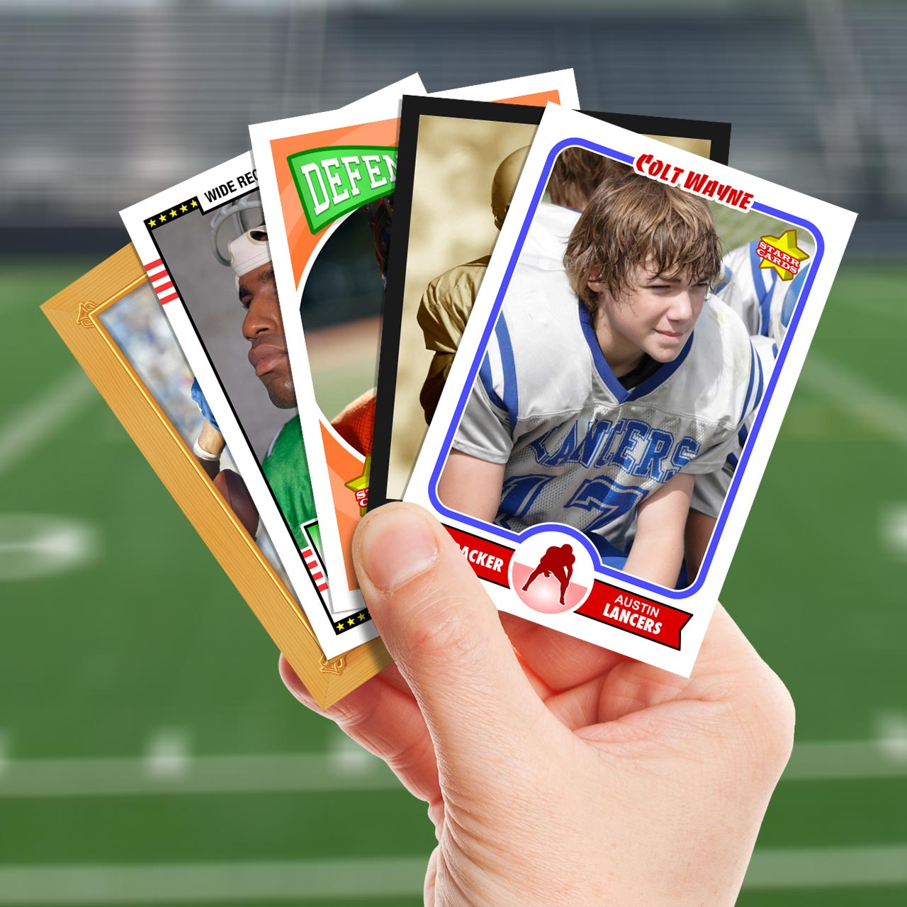 Make your own football card with Starr Cards.