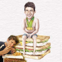 Michael Phelps eating a sandwich in front of Michael Phelps sitting on a sandwich