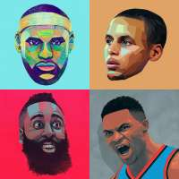 NBA portraits by Ryan Simpson including LeBron James, Steph Curry, James Harden and Russell Westbrook