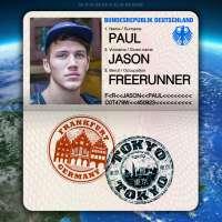 Passport from Frankfurt, Germany to Tokyo, Japan for freerunner Jason Paul
