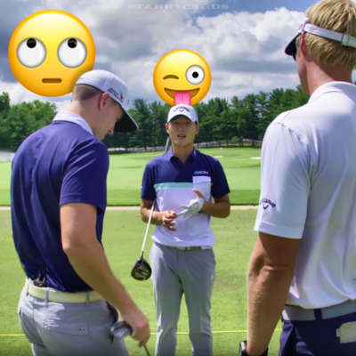 PGA golfer Danny Lee with swing coach Drew Steckel
