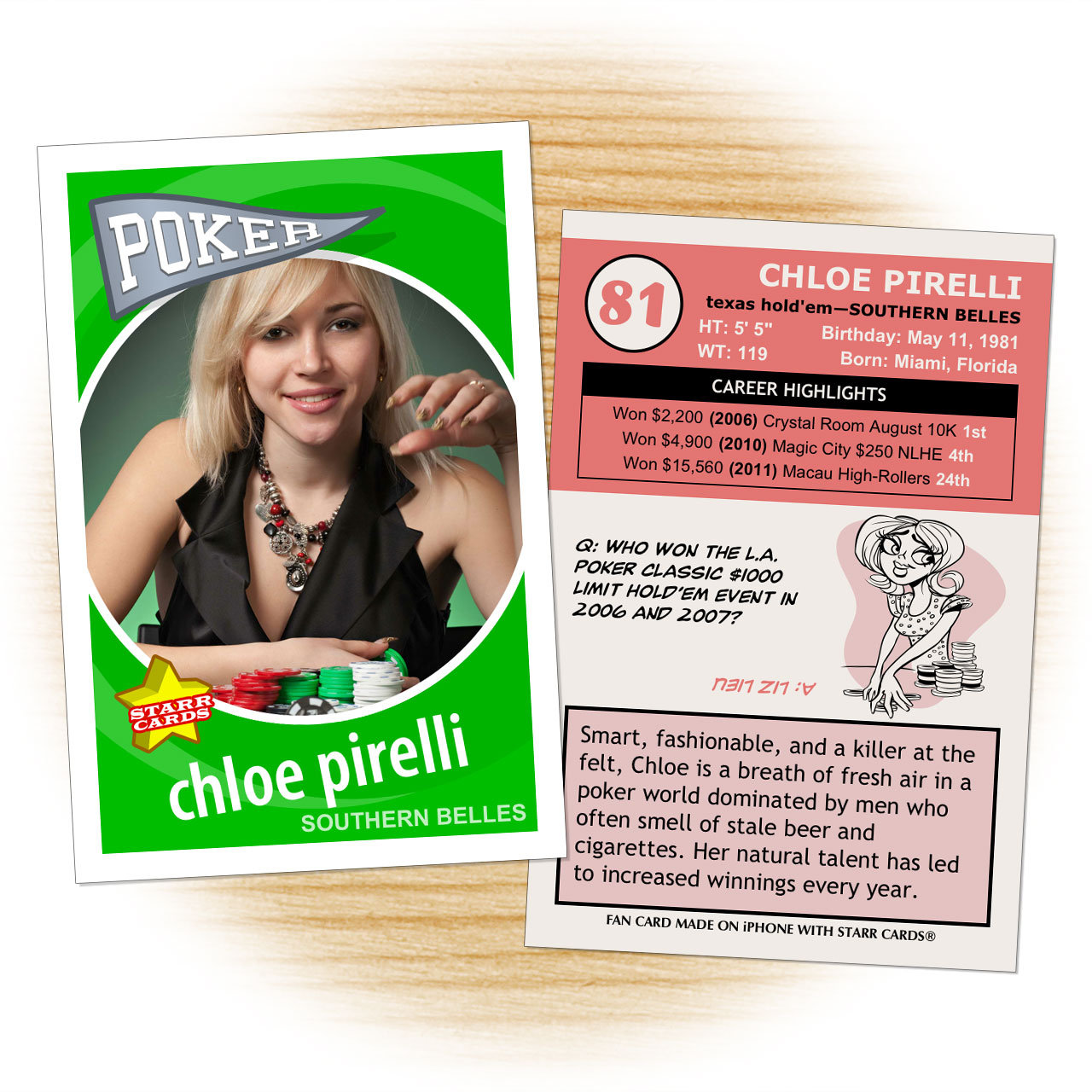Poker card template from Starr Cards Poker Card Maker.