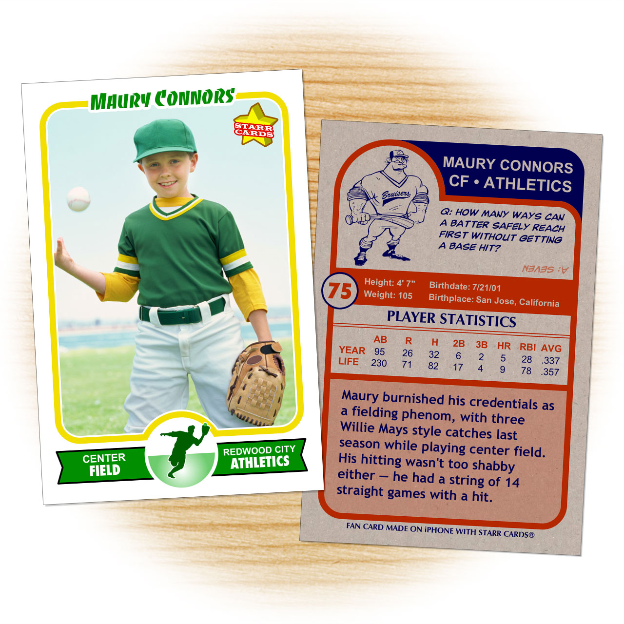 Make your own baseball card with starr cards for Baseball card template microsoft word
