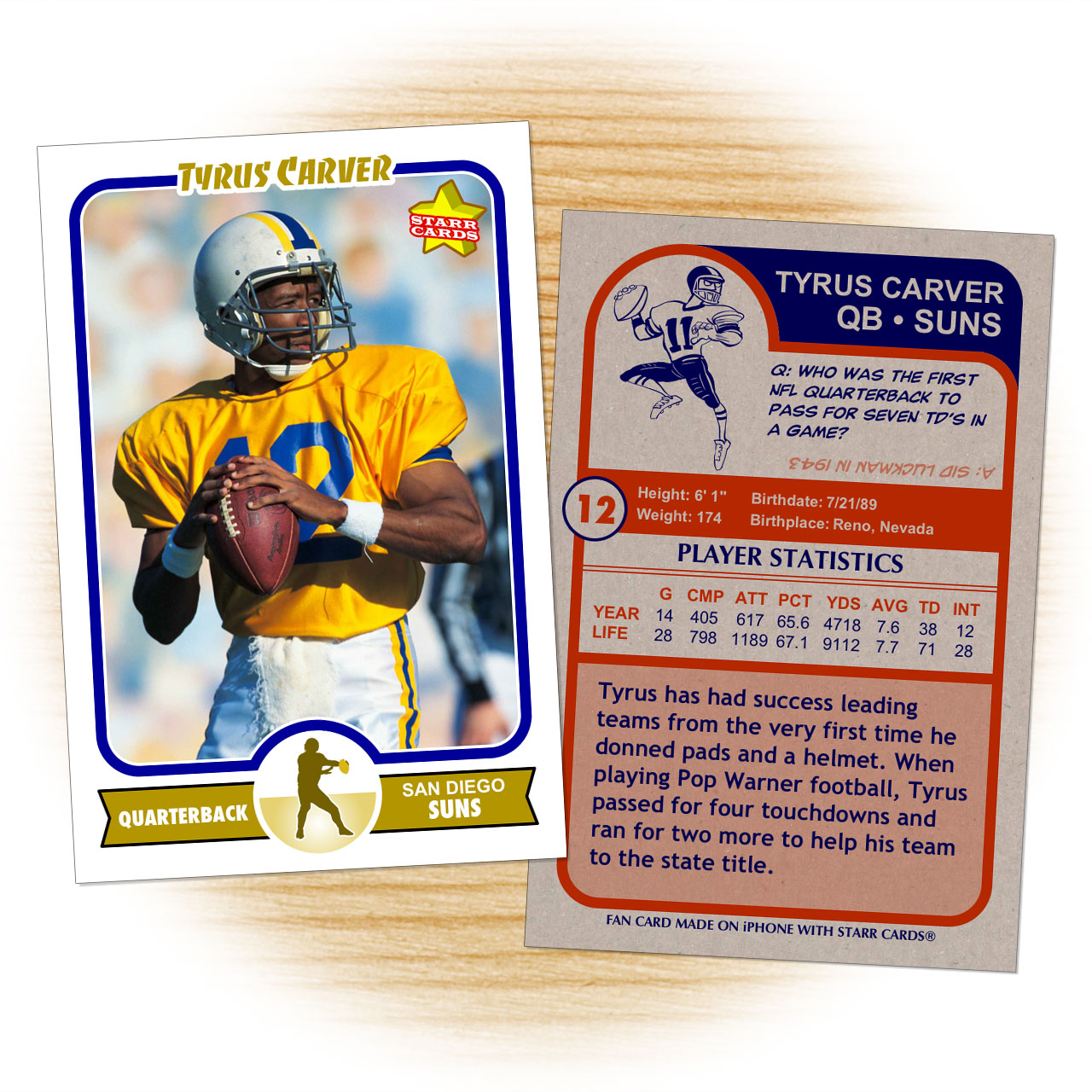 Football card template from Starr Cards Football Card Maker.