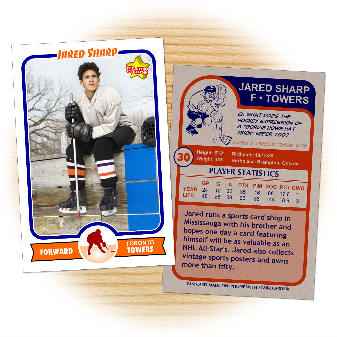 Hockey card template from Starr Cards Hockey Card Maker.