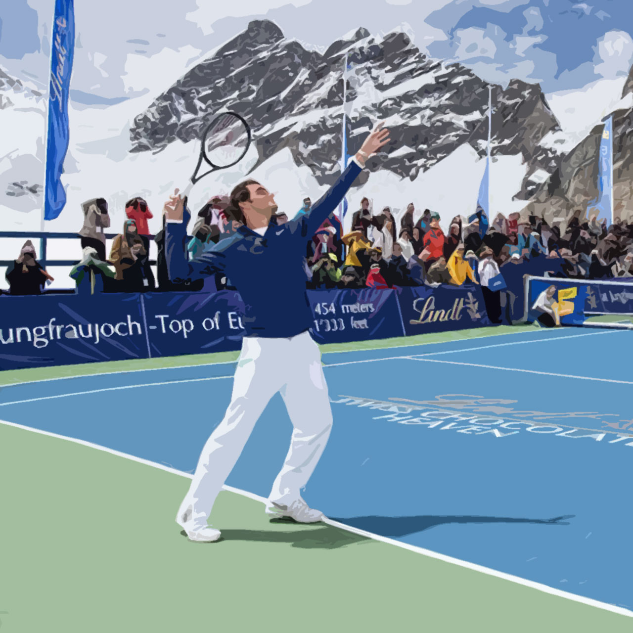 Roger Federer serves against Lindsey Vonn in the Swiss Alps