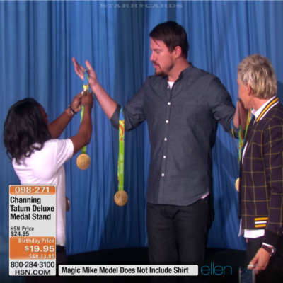 Simon Biles tries out her new Channing Tatum medal stand on 'The Ellen Degeneres Show'
