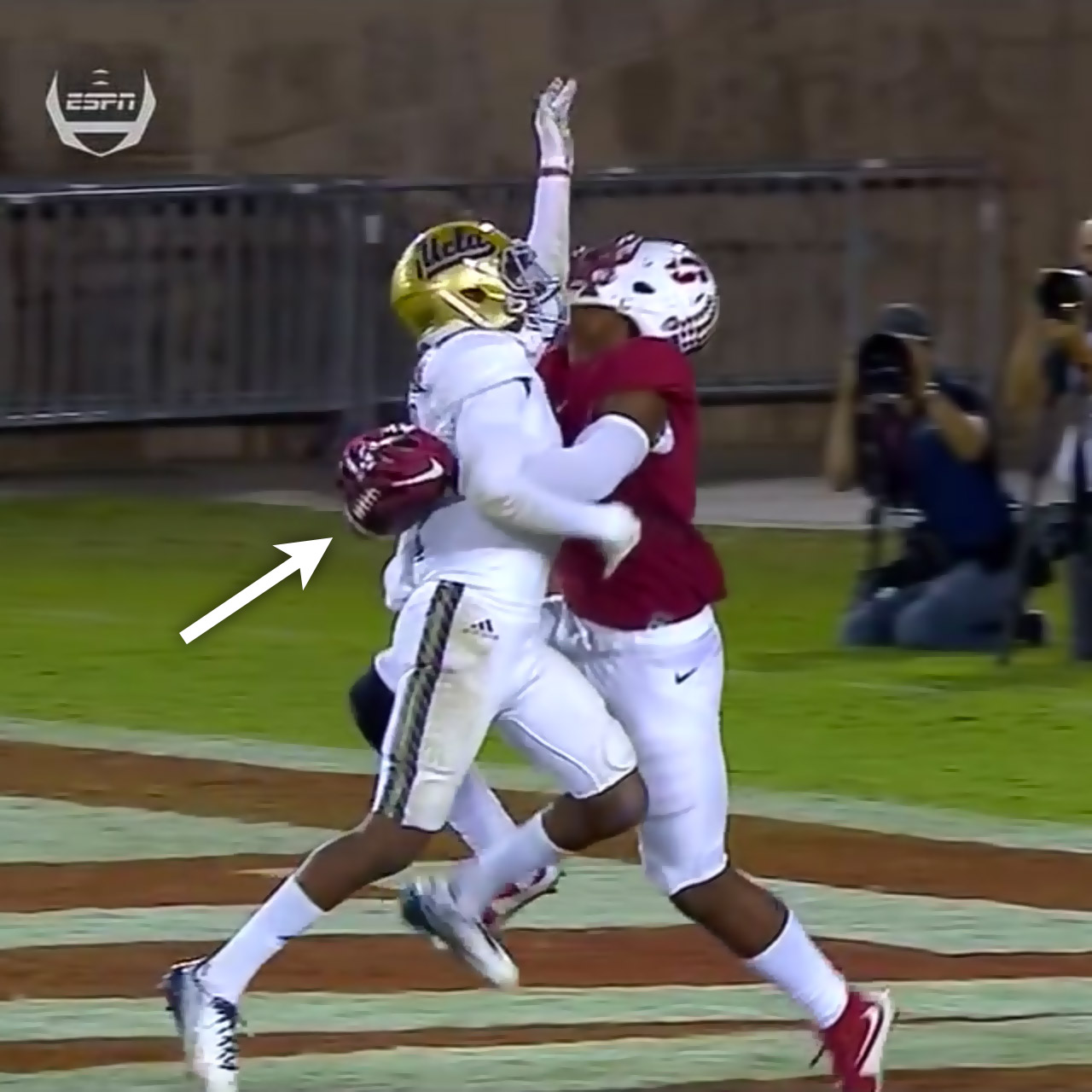 Stanford wide receiver Francis Owusu with catch vs UCLA