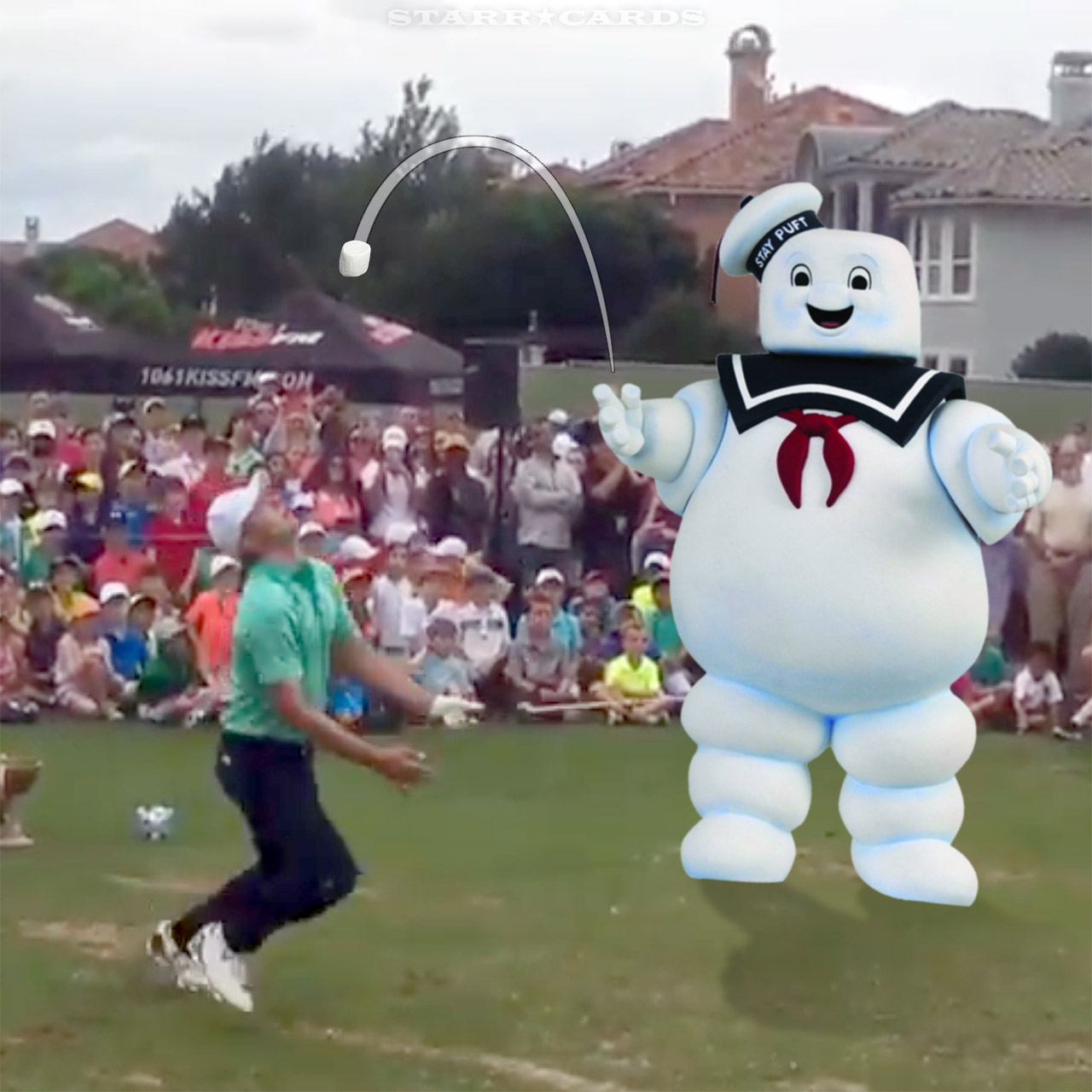 Stay Puft Marshmallow Man assists Jordan Spieth on a golf trick shot