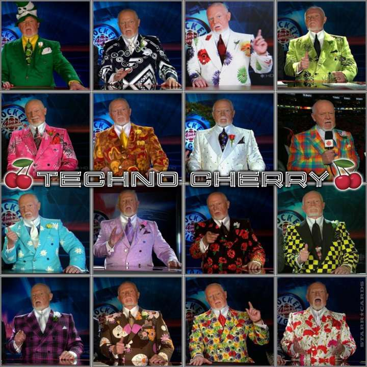 The many technicolor suits of hockey commentator Don Cherry
