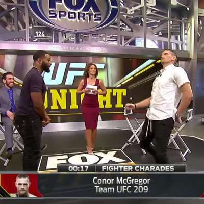 "Tyron Woodley guesses as Stephen ""Wonderboy"" Thompson imitates Conor McGregor in game of fighter charades"