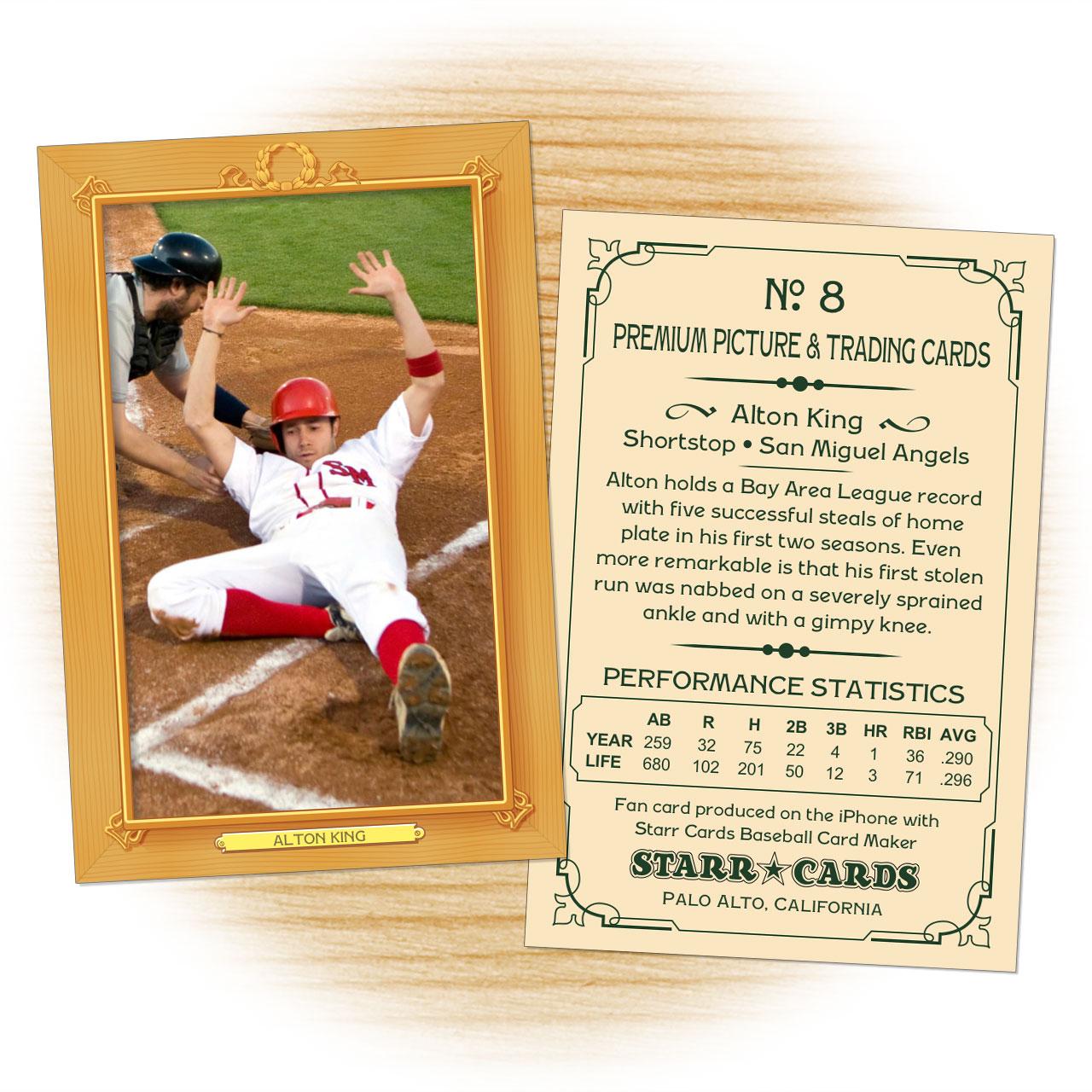 Custom Baseball Cards - Vintage 11™ Series Starr Cards