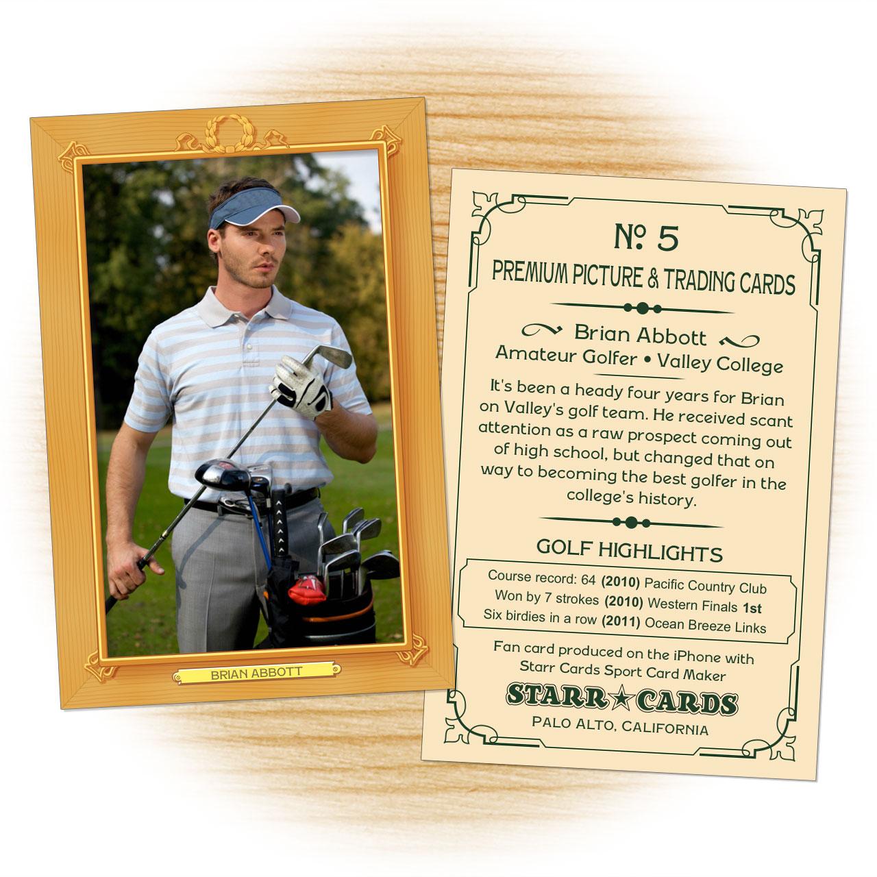 Vintage 11 Series custom golf cards