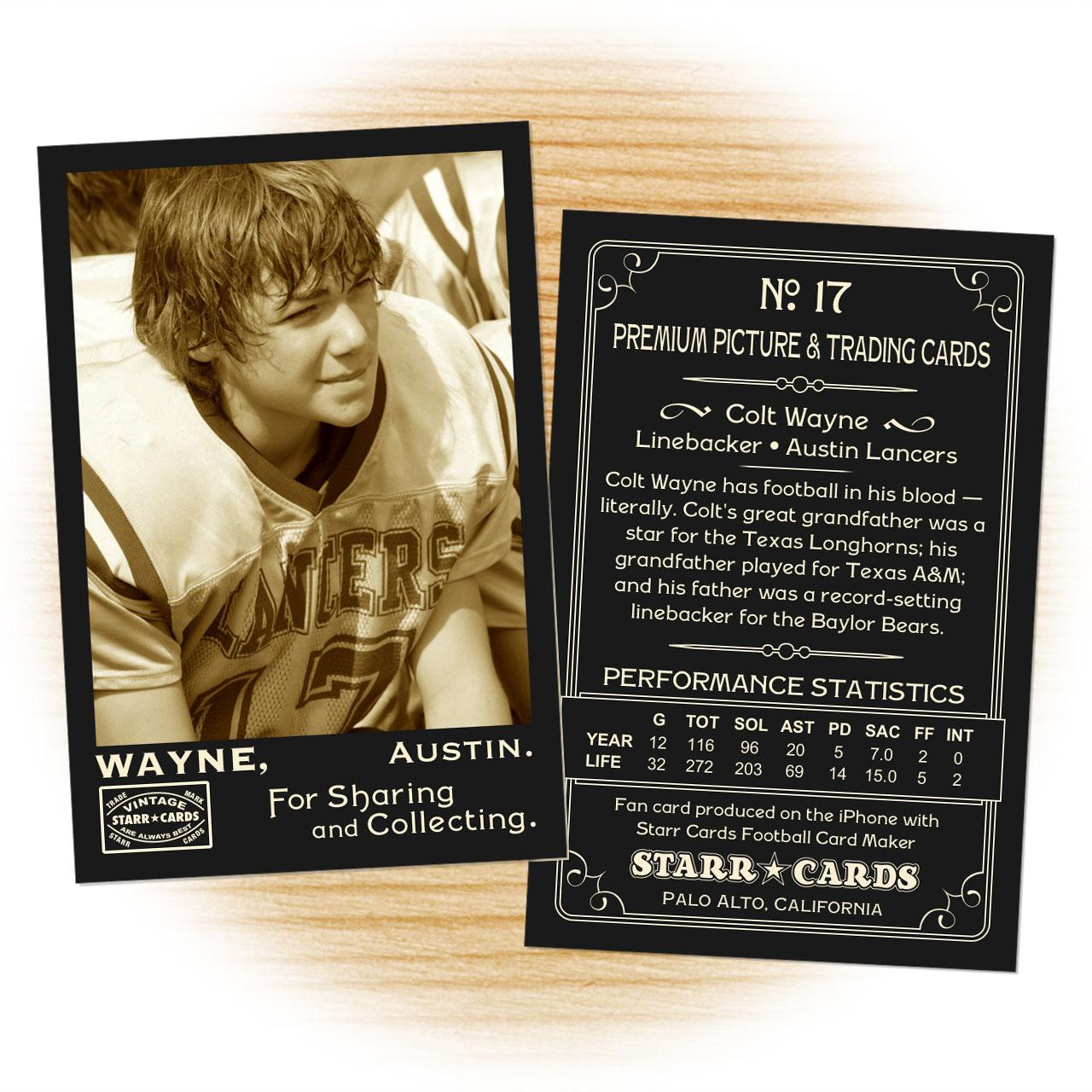 Vintage 95 Series custom football cards