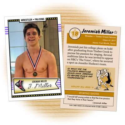 Wrestling card of 'The Voice' contestant Jeremiah Miller