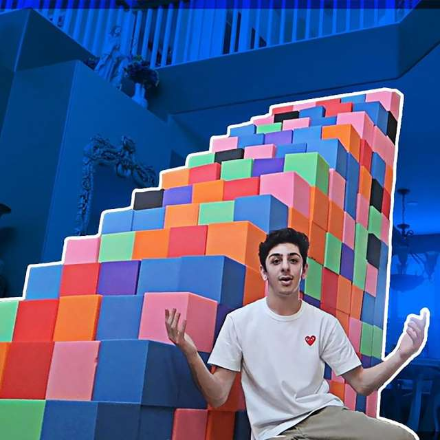 YouTuber Brian Awadis (aka FaZe Rug) makes stairs from foam-pit cubes